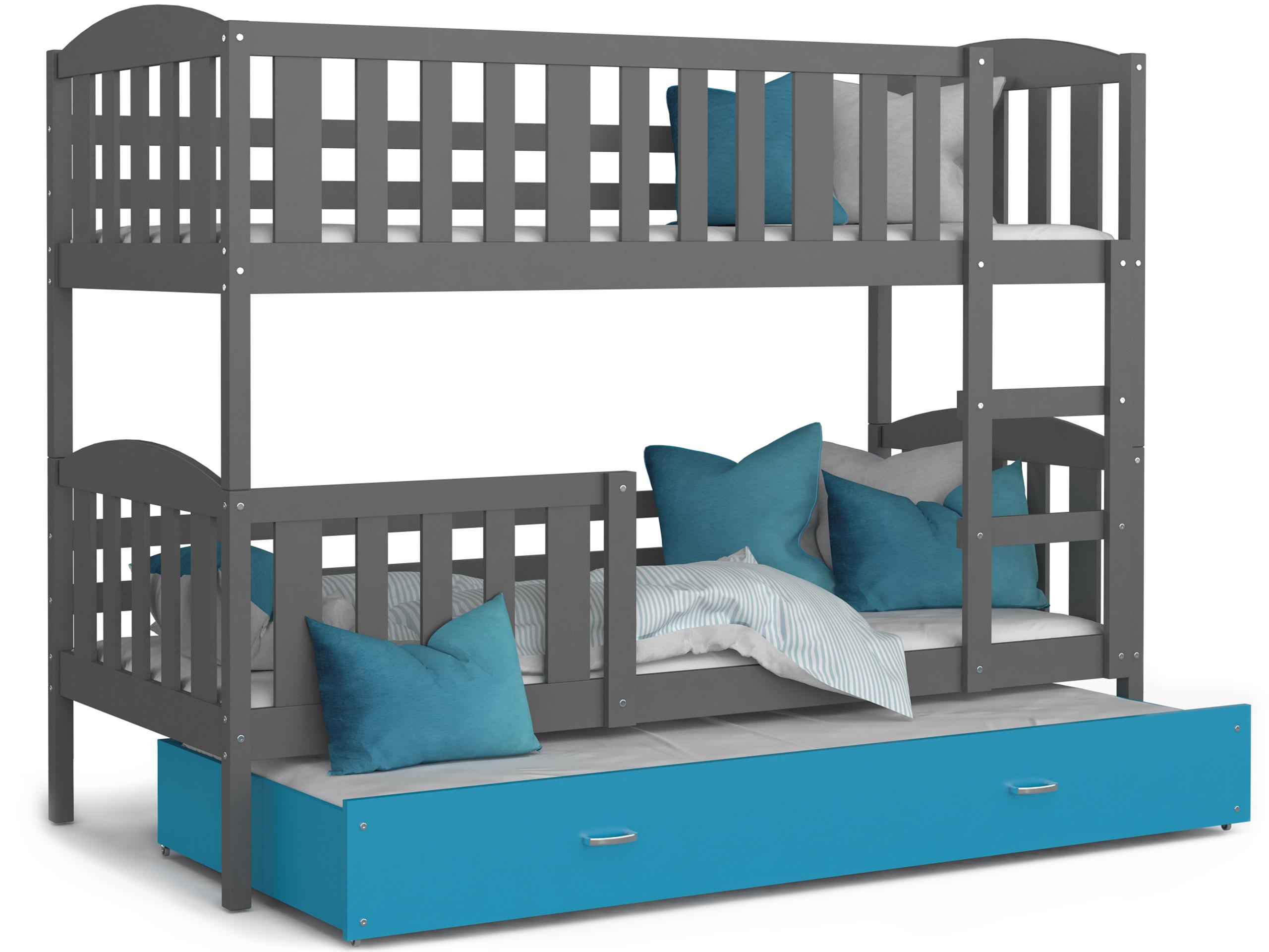 ArtAJ Detská poschodová posteľ Kubuš 3 | 190 x 80 cm Farba: Sivá / Modrá, Prevedenie: bez matraca, Rozmer.: MDF