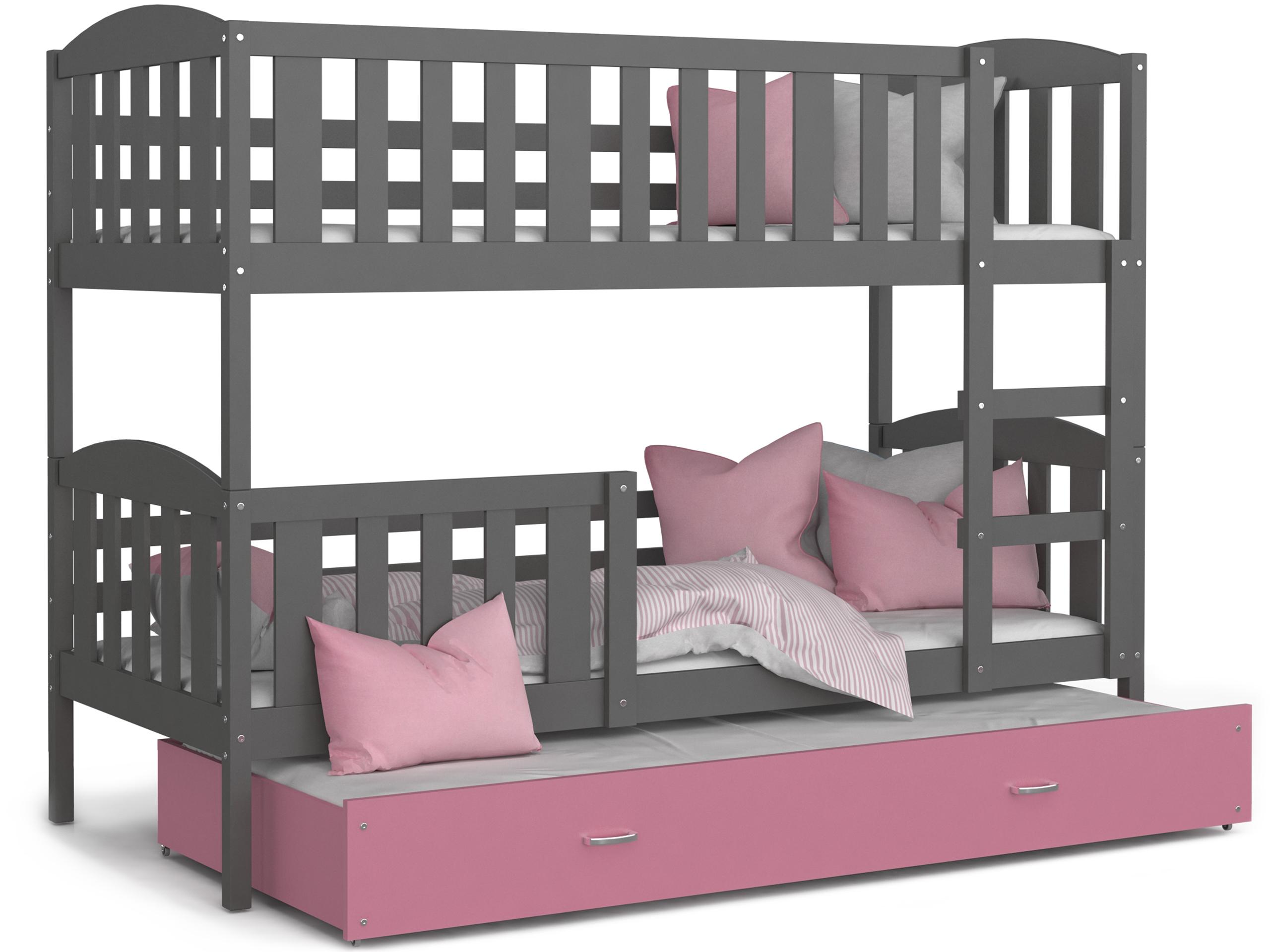 ArtAJ Detská poschodová posteľ Kubuš 3 | 190 x 80 cm Farba: Sivá / ružová, Prevedenie: bez matraca, Rozmer.: MDF