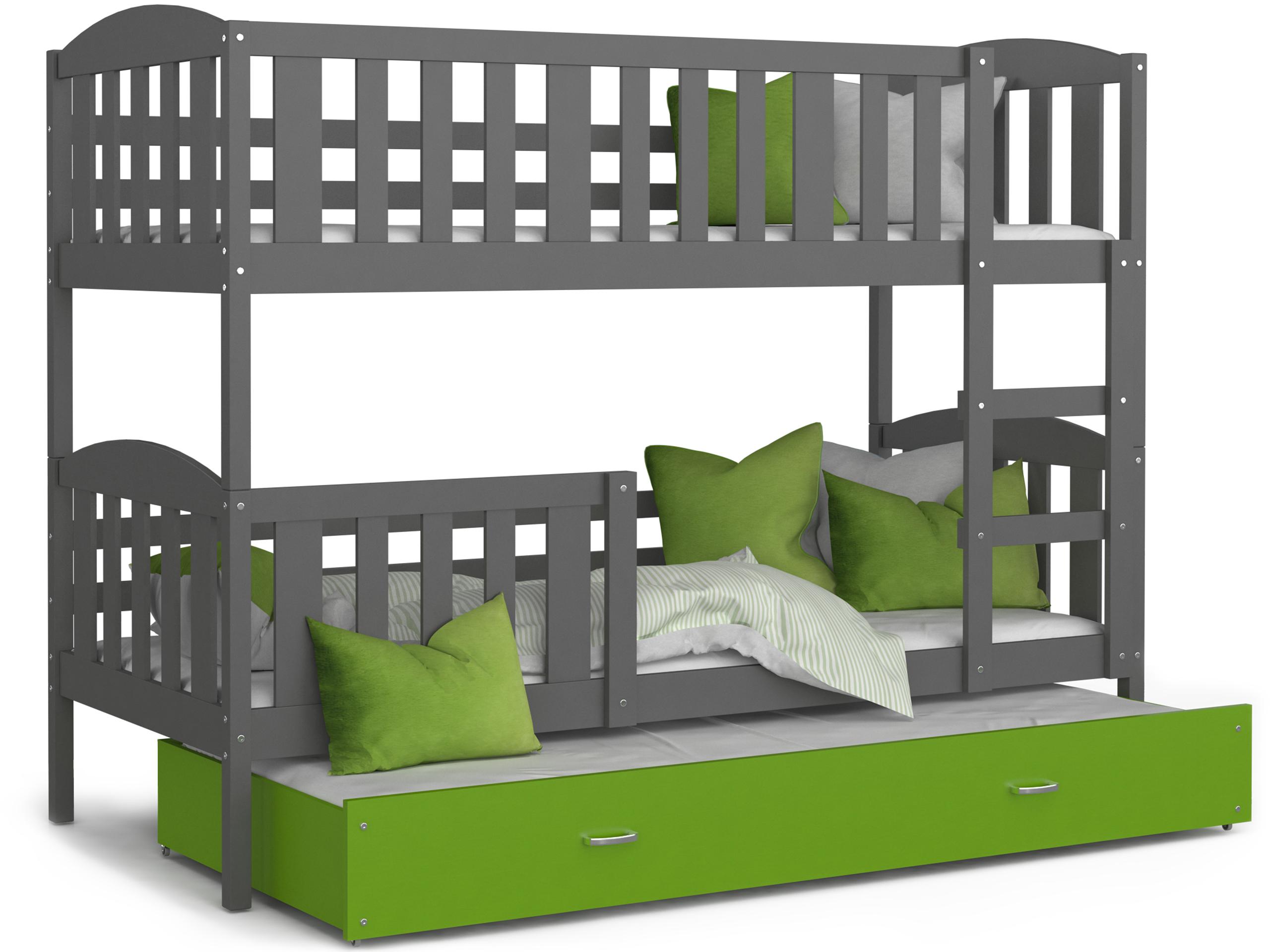 ArtAJ Detská poschodová posteľ Kubuš 3 | 190 x 80 cm Farba: Sivá / zelená, Prevedenie: bez matraca, Rozmer.: MDF