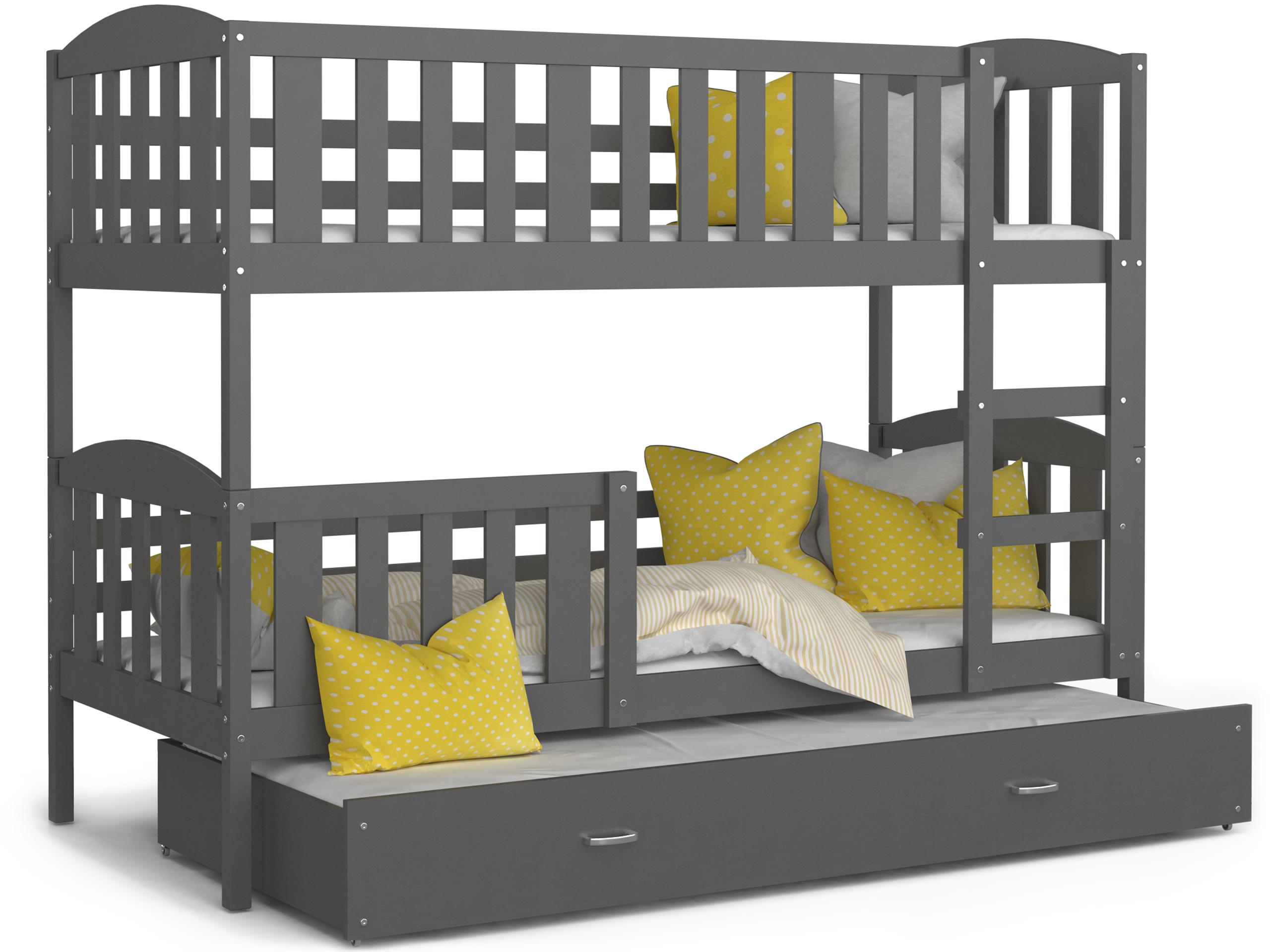 ArtAJ Detská poschodová posteľ Kubuš 3 | 190 x 80 cm Farba: Sivá / sivá, Prevedenie: bez matraca, Rozmer.: MDF