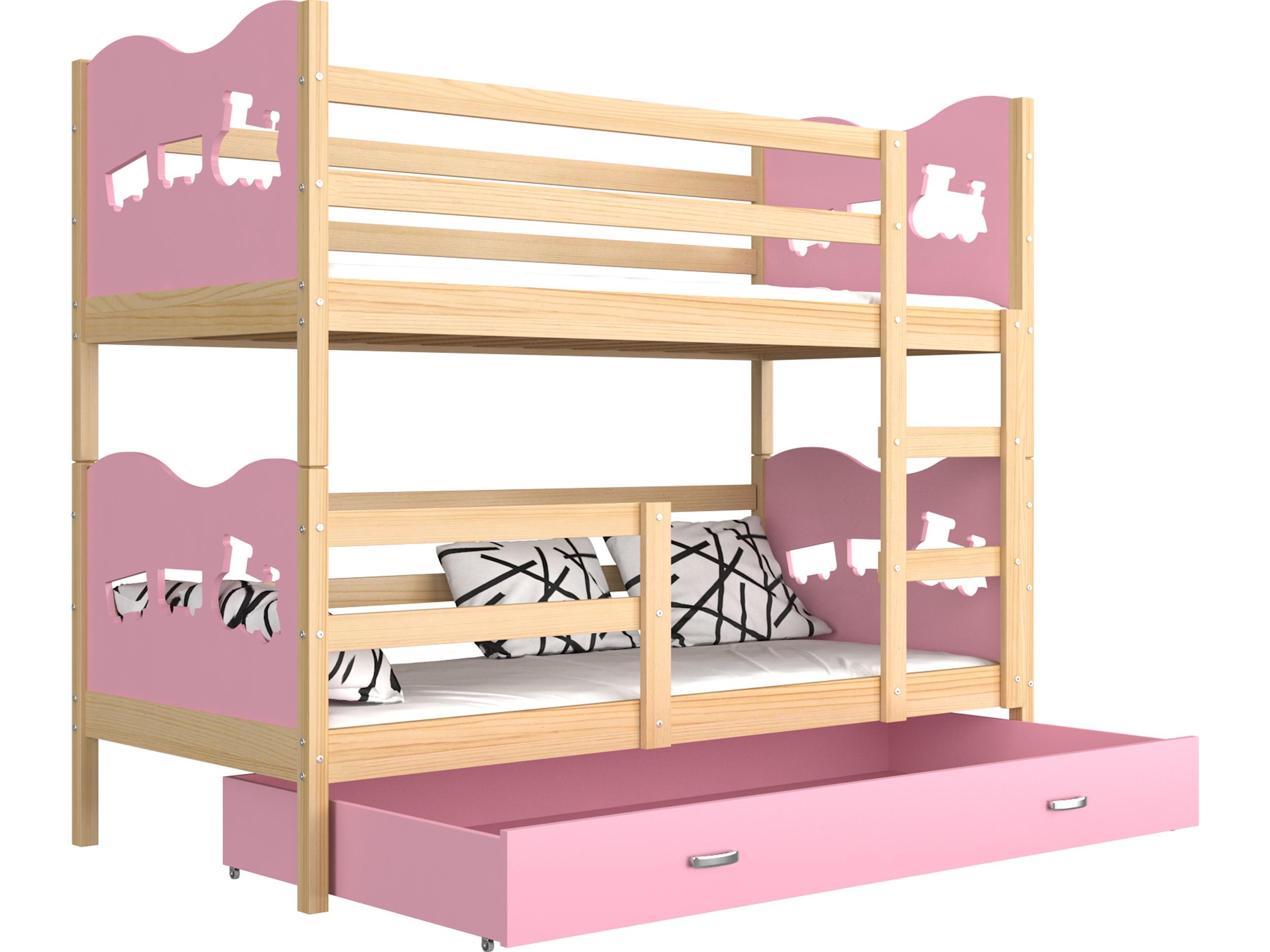 ArtAJ Detská poschodová posteľ Max drevo / MDF 160 x 80 cm Farba: Borovica / ružová 160 x 80 cm, s matracom