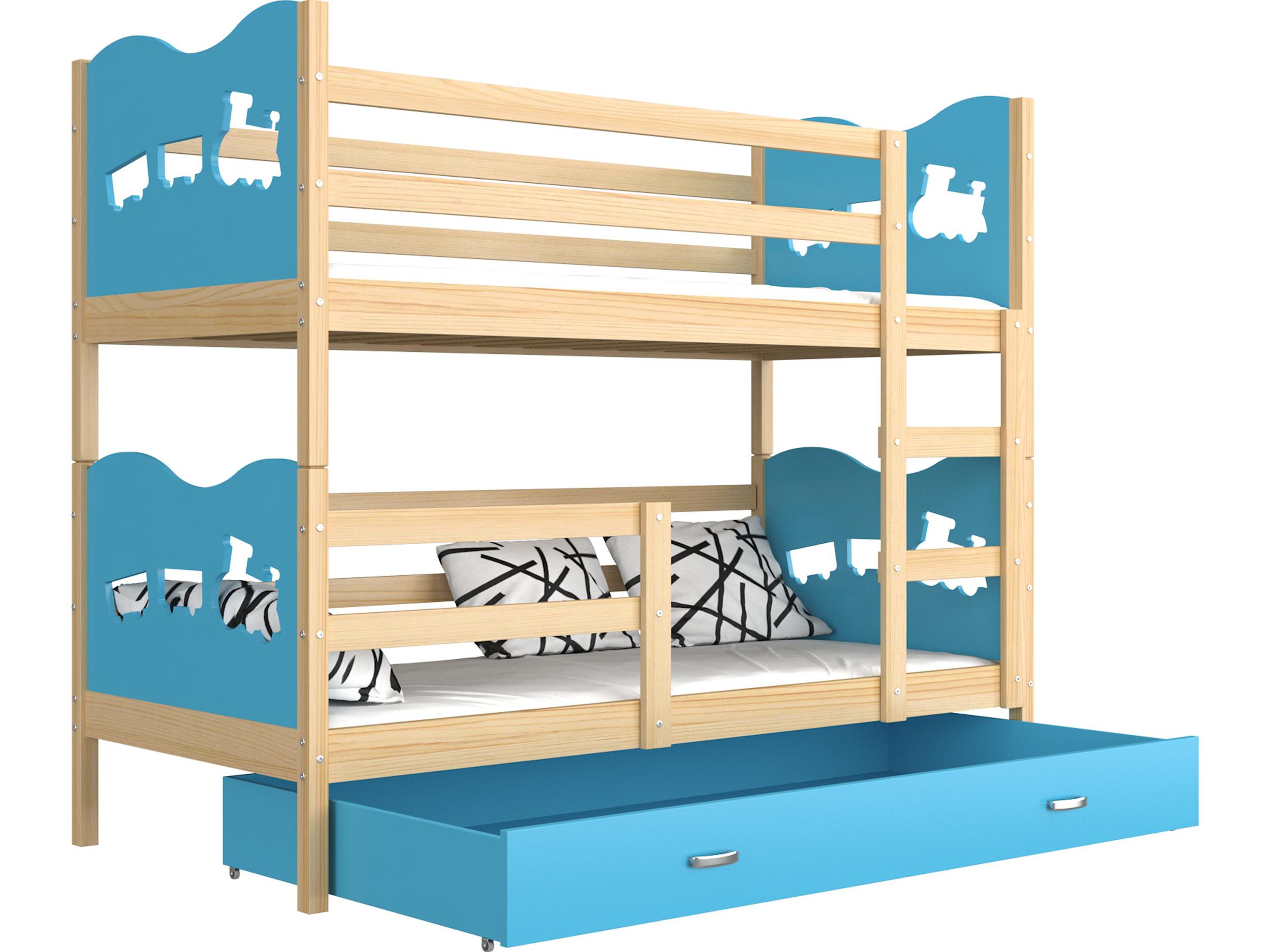 ArtAJ Detská poschodová posteľ Max drevo / MDF 160 x 80 cm Farba: Borovica / modrá 160 x 80 cm, s matracom