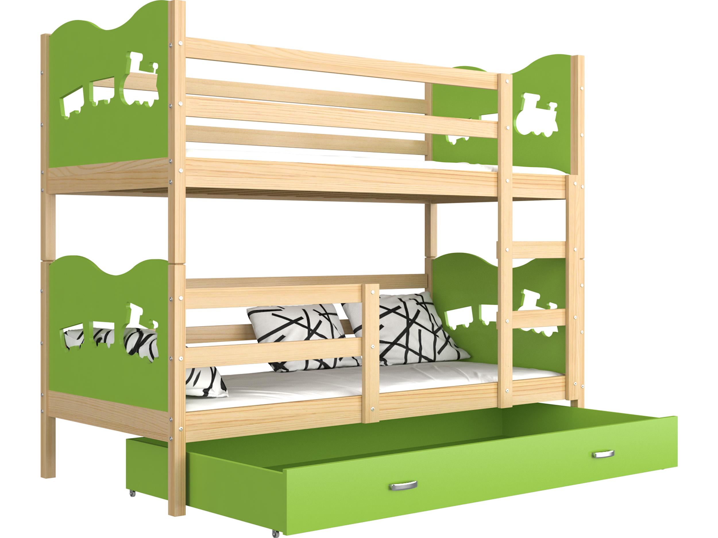 ArtAJ Detská poschodová posteľ Max drevo / MDF 160 x 80 cm Farba: Borovica / zelená 160 x 80 cm, s matracom