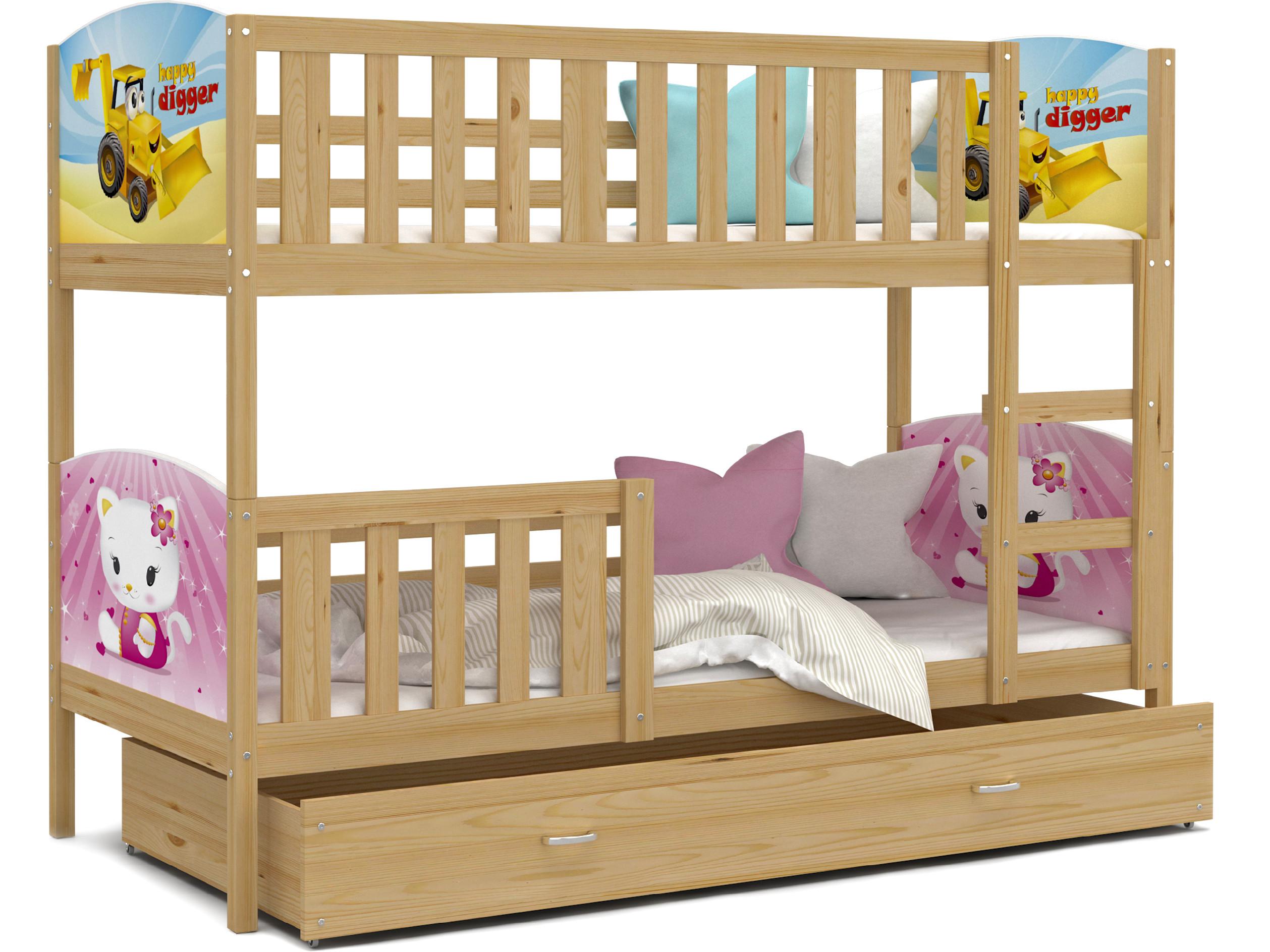 ArtAJ Detská poschodová posteľ Tami / borovica Tami rozmer: 160 x 80 cm, s matracom