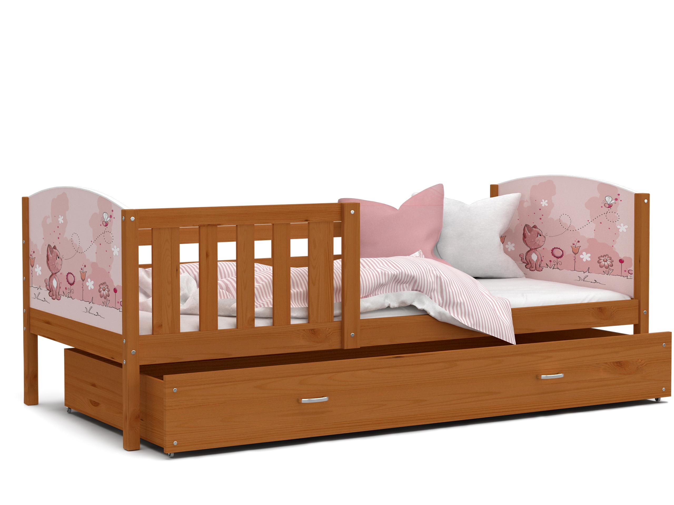 ArtAJ Detská posteľ Tami P / jelša Tami rozmer: 160 x 80 cm, s matracom