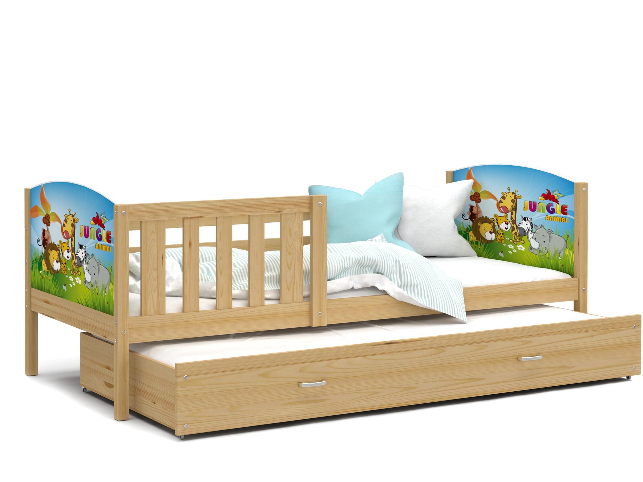 ArtAJ Detská posteľ Tami P2 / borovica Tami rozmer: 190 x 80 cm + prístelka 184 x 80 cm, s matracom