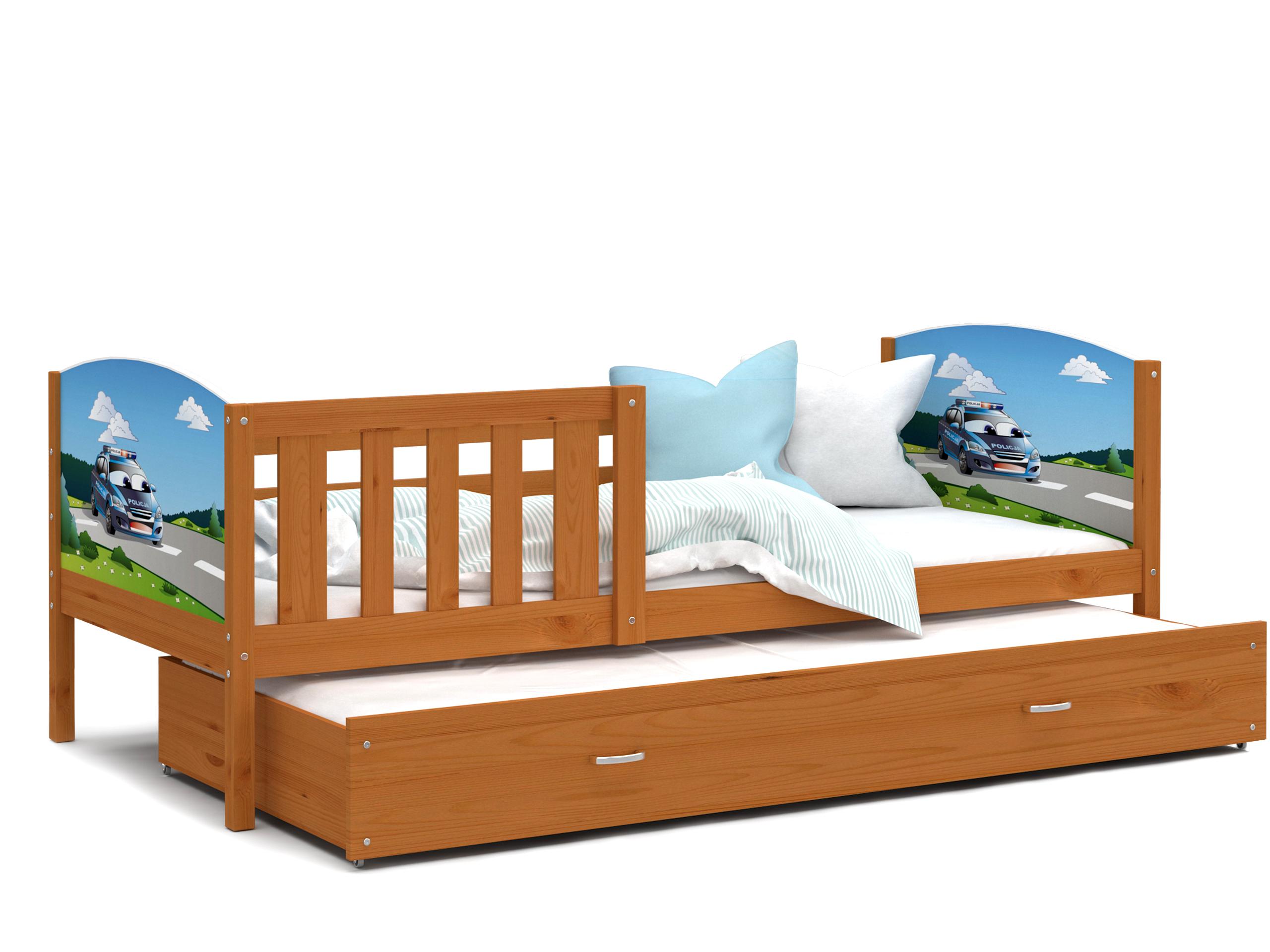 ArtAJ Detská posteľ Tami P2 / jelša Tami rozmer: 190 x 80 cm + prístelka 184 x 80 cm, s matracom
