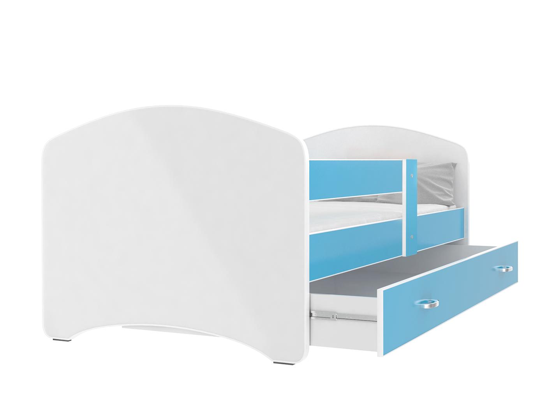 ArtAJ Detská posteľ Lucky 140 x 80 Farba: Modrá, Prevedenie: s matracom, Rozmer.: 140 x 80 cm