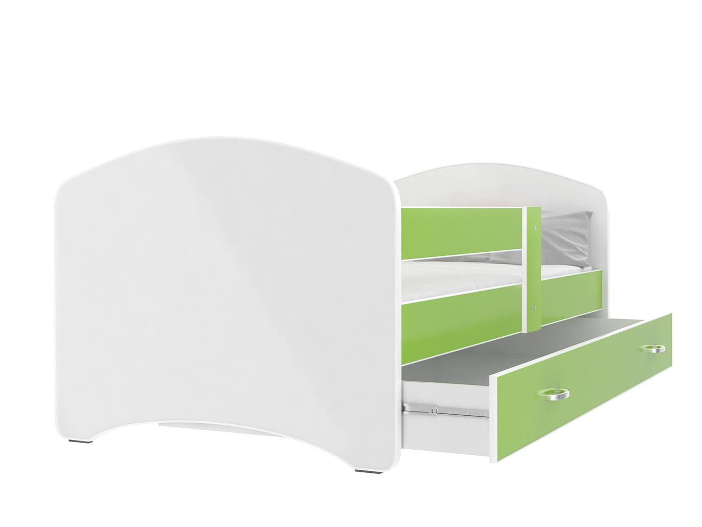ArtAJ Detská posteľ Lucky 140 x 80 Farba: Zelená, Prevedenie: s matracom, Rozmer.: 140 x 80 cm