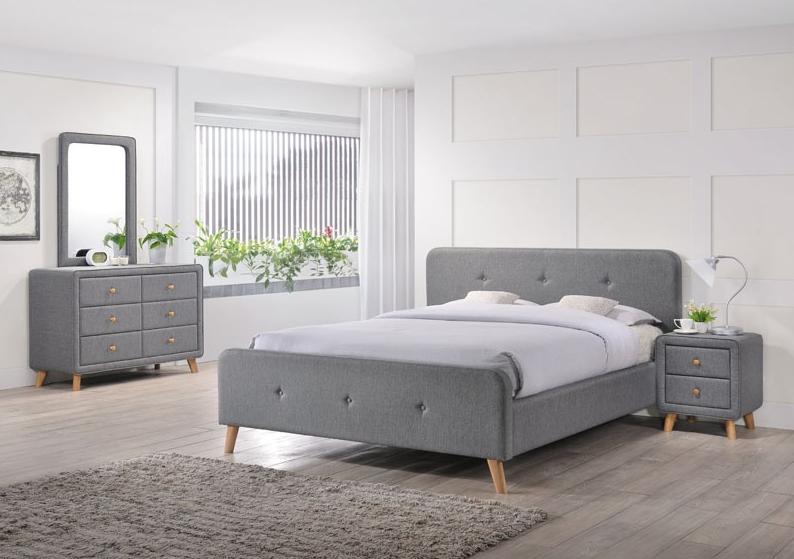 Signal Čalúnená manželská posteľ Malmo 140x200 Farba: Sivá