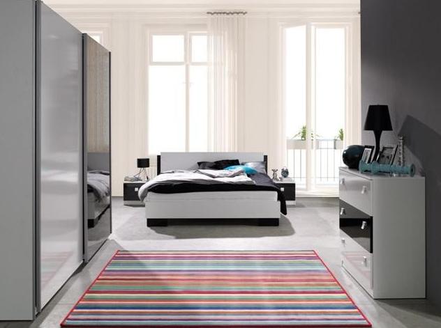 ArtMadex Spálňa Lux Farba: Biela / čierny lesk