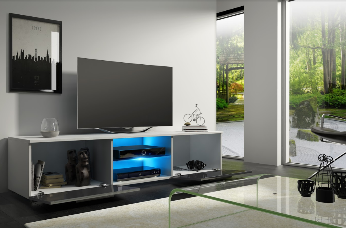 WIP Tv stolík Moon 140 Farba: Biela / sivý lesk