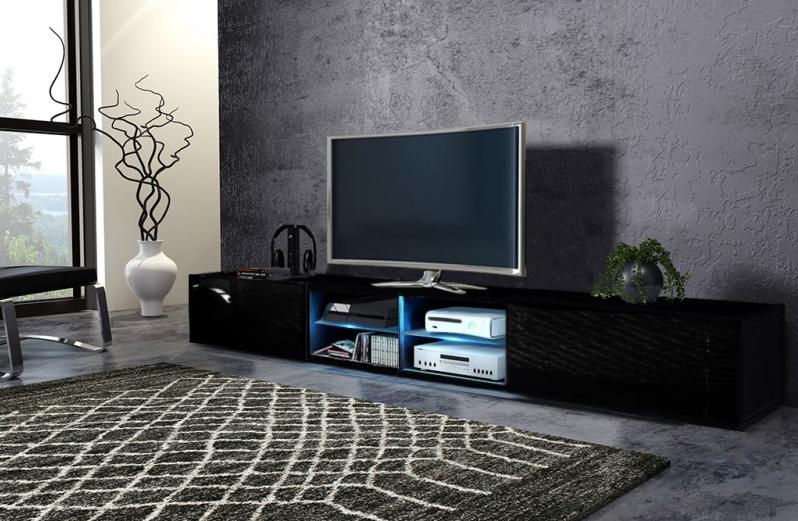WIP Tv stolík Best - dvojitý Farba: čierna / čierny lesk