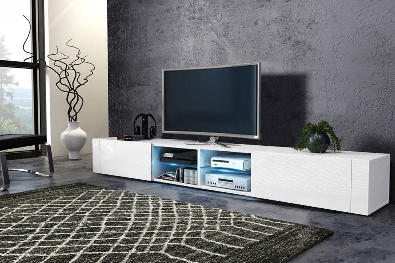 WIP Tv stolík Best - dvojitý Farba: Biela / biely lesk