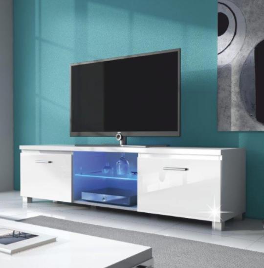 Tempo Kondela Tv stolík Lugo 2 Farba: biela/ biely extra vysoký lesk HG