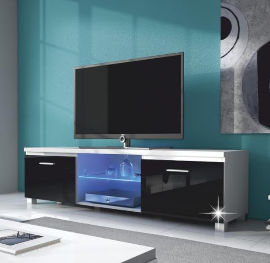 Tempo Kondela Tv stolík Lugo 2 Farba: biela/ čierny extra vysoký lesk HG