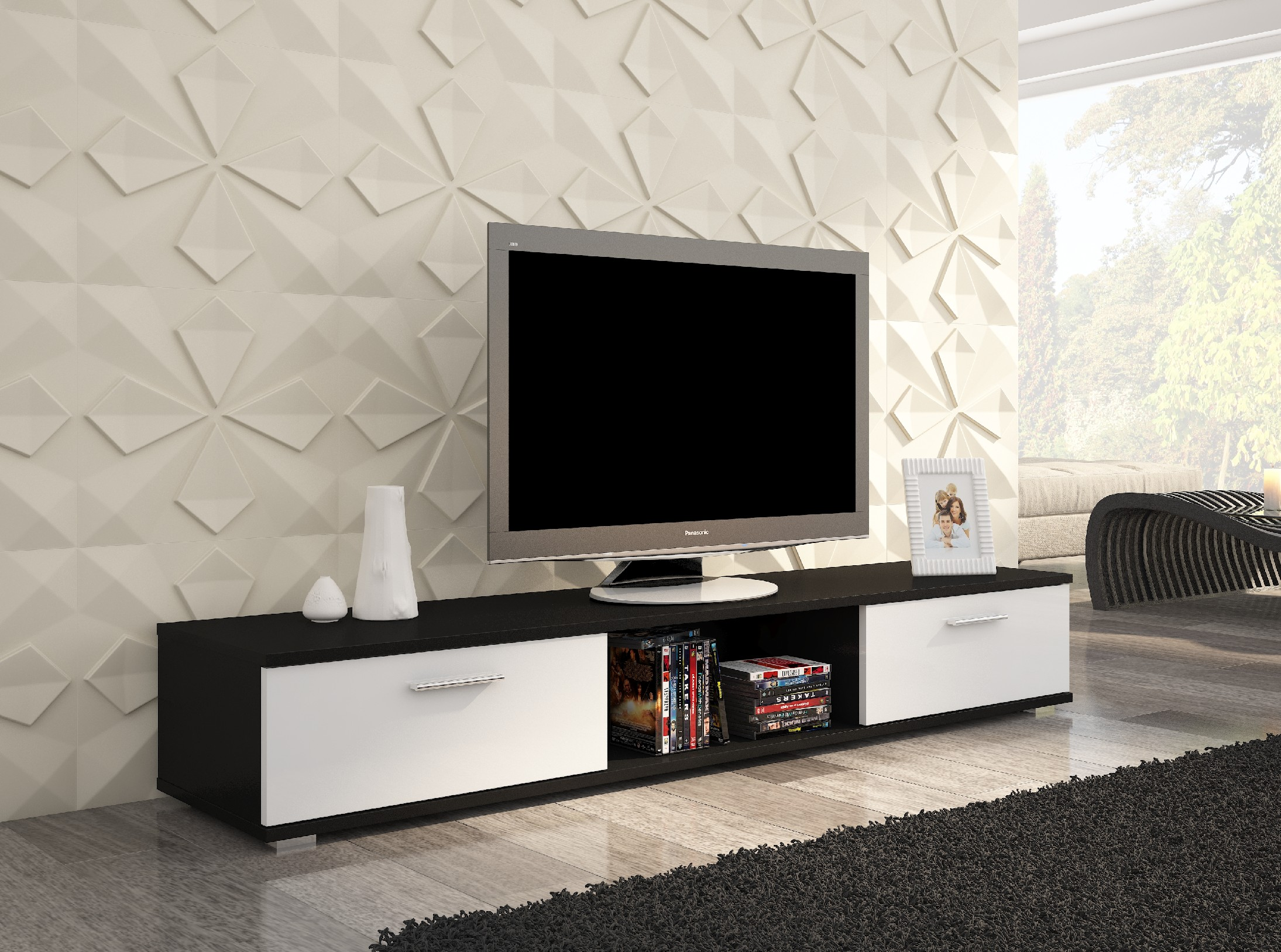 ArtAdr TV stolík Sella Farba: čierna / biely mat