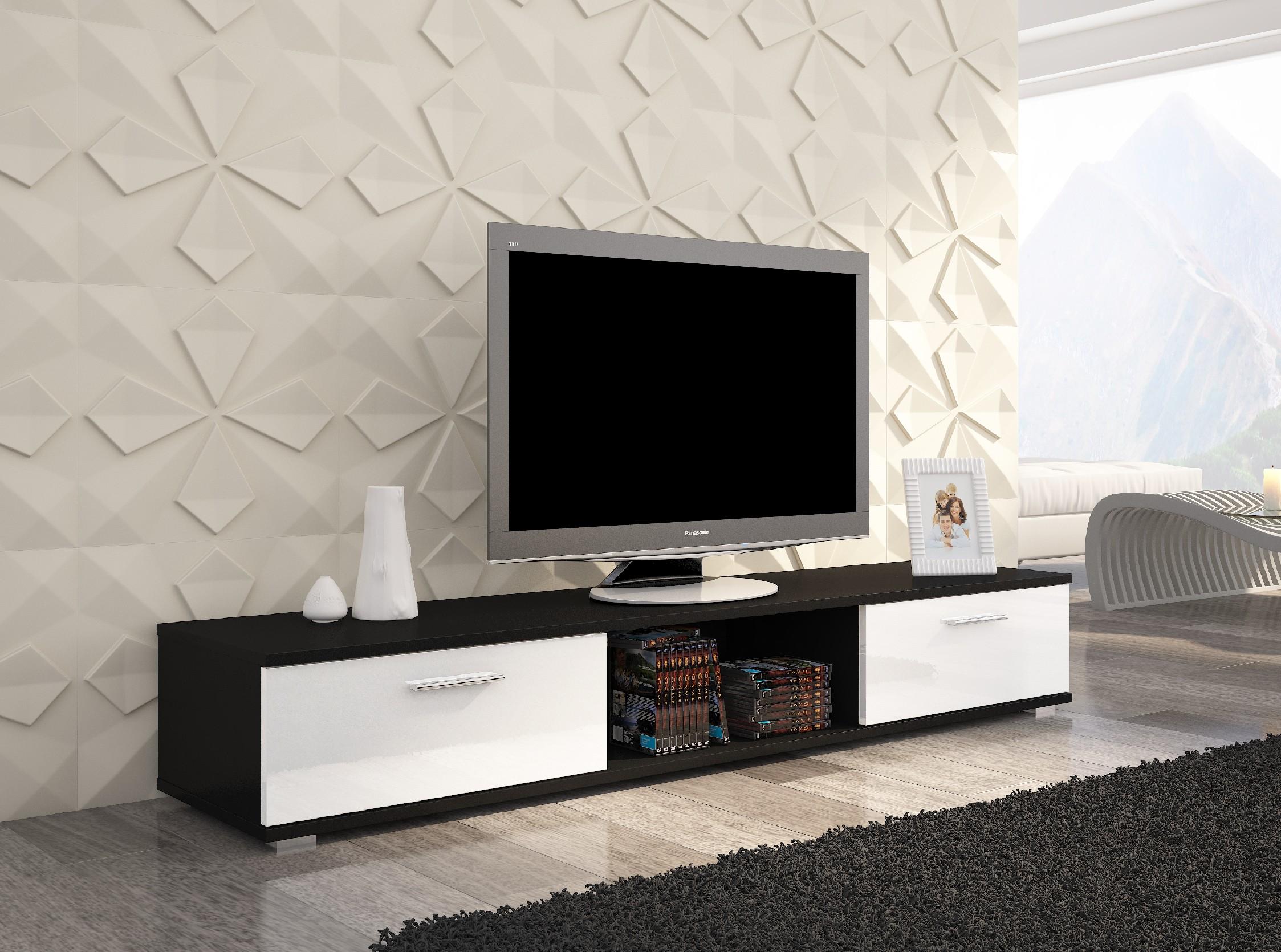 ArtAdr TV stolík Sella Farba: čierna / biely lesk