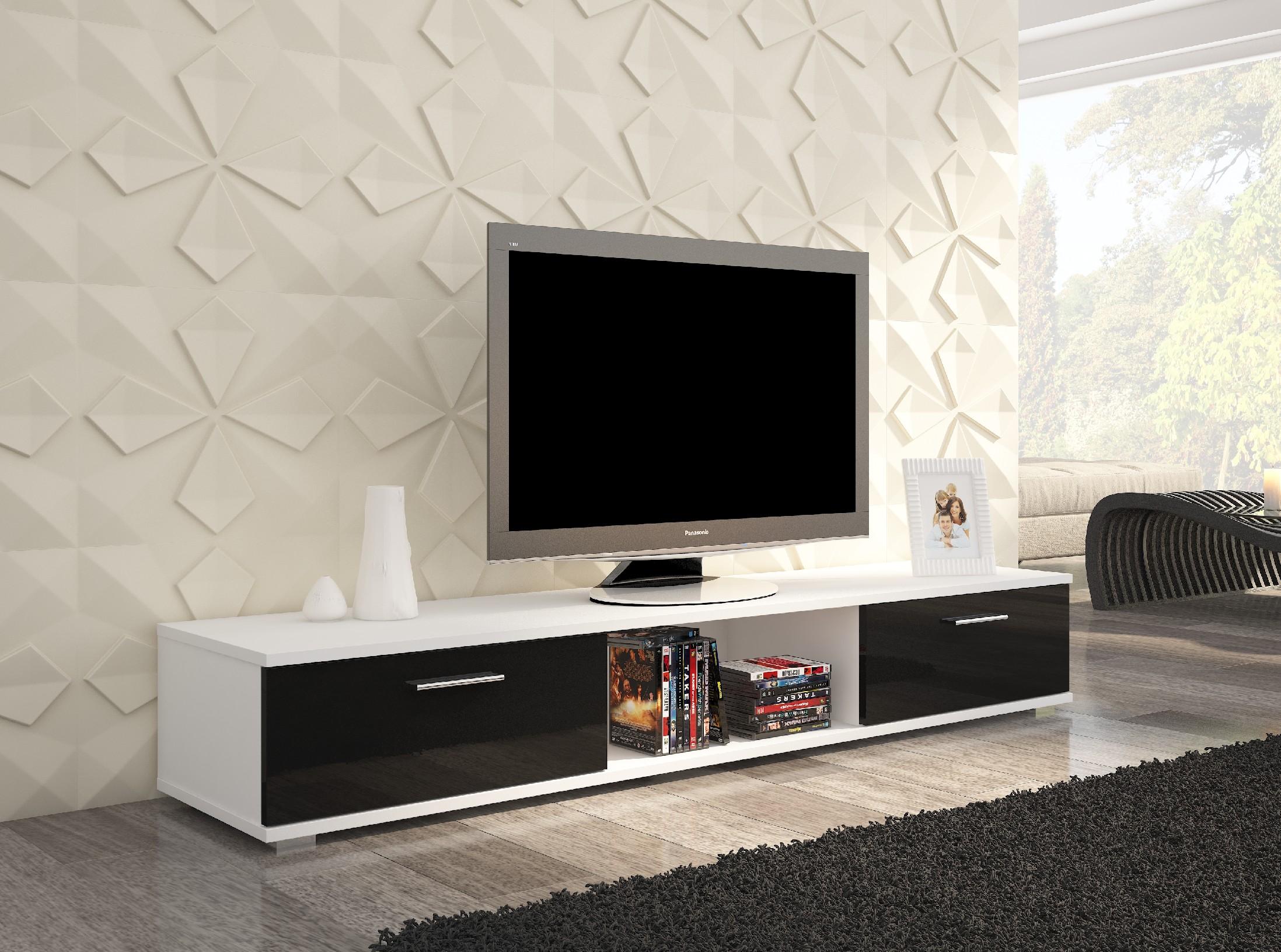 ArtAdr TV stolík Sella Farba: Biela / čierny lesk
