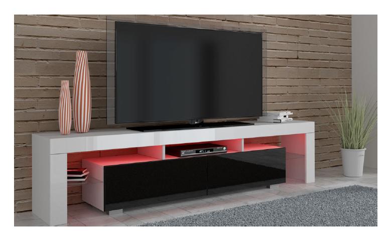 Artcam TV stolík TV 190 Farba: Biela / biely lesk / čierny lesk