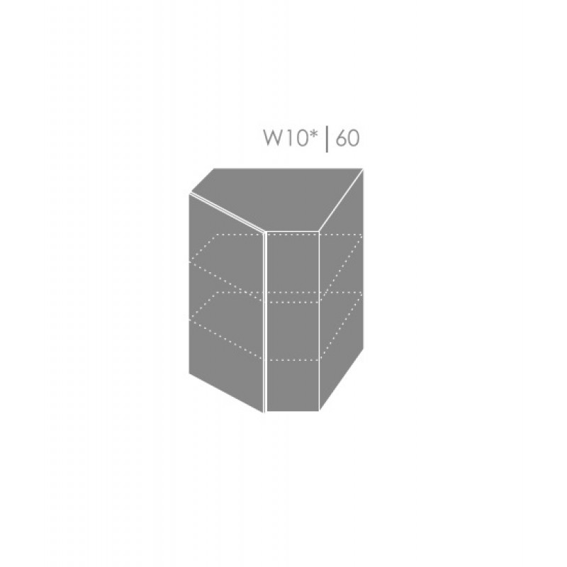 ArtExt Kuchynská linka Emporium Kuchyňa: Rohová horná skrinka W10/60 korpus grey, lava, biela / (ŠxVxH) 60 x 82 x 60 cm