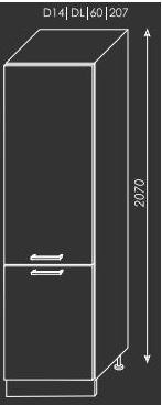 ArtExt Kuchynská linka Emporium Kuchyňa: Spodná skrinka D14/DL/60/207 / (ŠxVxH) 60 x 207 x 56,5 cm