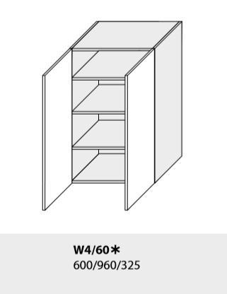 ArtExt Kuchynská linka Emporium Kuchyňa: Horná skrinka W4/60 /(ŠxVxH) 60 x 96 x 32,5 cm (korpus grey,lava,biela)