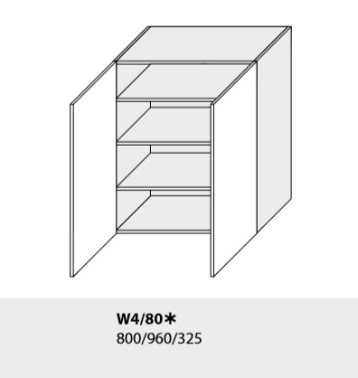 ArtExt Kuchynská linka Emporium Kuchyňa: Horná skrinka W4/80 /(ŠxVxH) 80 x 96 x 32,5 cm (korpus grey,lava,biela)