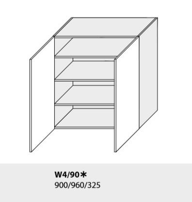 ArtExt Kuchynská linka Emporium Kuchyňa: Horná skrinka W4/90 /(ŠxVxH) 90 x 96 x 32,5 cm (korpus grey,lava,biela)