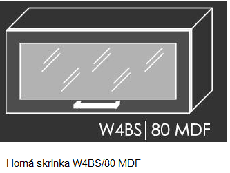 ArtExt Kuchynská linka Emporium Kuchyňa: Horná skrinka W4BS/80 MDF / (ŠxVxH) 80 x 36 x 30-32,5 cm
