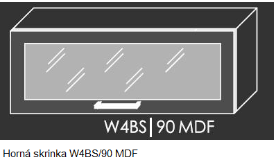 ArtExt Kuchynská linka Emporium Kuchyňa: Horná skrinka W4BS/90 MDF / (ŠxVxH) 90 x 36 x 30-32,5 cm