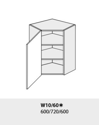 ArtExt Kuchynská linka Emporium Kuchyňa: Horná rohová skrinka W4/10/60 /(ŠxVxH) 60 x 96 x 60 cm (korpus grey,lava,biela)