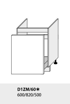 ArtExt Kuchynská linka Emporium Kuchyňa: Spodná skrinka D1ZM/60 /(ŠxVxH) 60 x 82 x 50 cm (korpus grey,lava,biela)