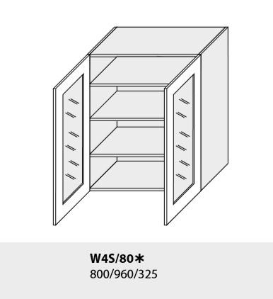 ArtExt Kuchynská linka Emporium Kuchyňa: Horná skrinka W4S/80 / (ŠxVxH) 80 x 96 x 32,5 cm (korpus grey,lava,biela)