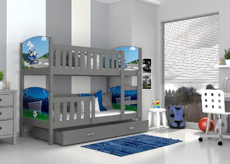 ArtAJ Detská poschodová posteľ Tami / sivá Tami rozmer: 160 x 80 cm, Tami typ: bez matraca