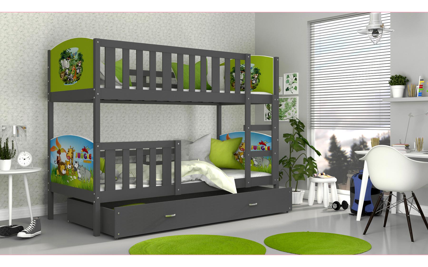 ArtAJ Detská poschodová posteľ Tami / sivá Tami rozmer: 160 x 80 cm, s matracom