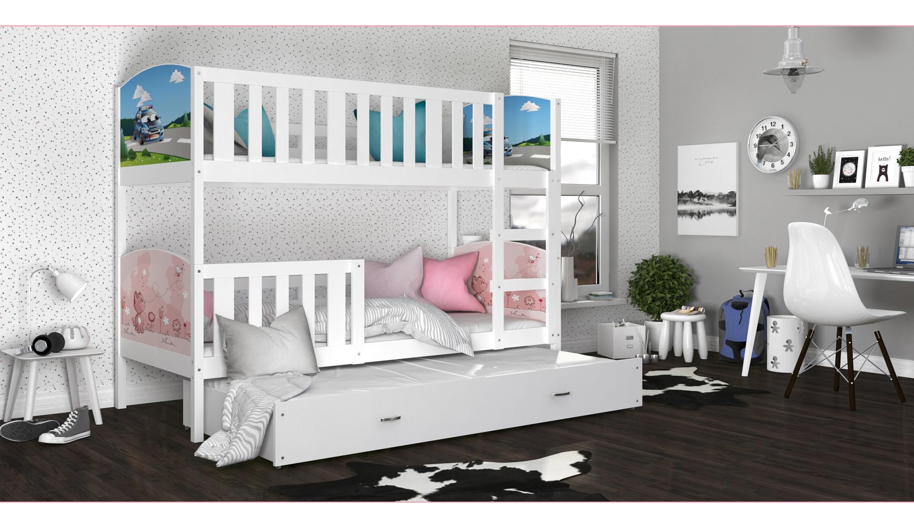 ArtAJ Detská poschodová posteľ Tami 3 / biela Tami rozmer: 190 x 80 cm + prístelka 184 x 80 cm, s matracom