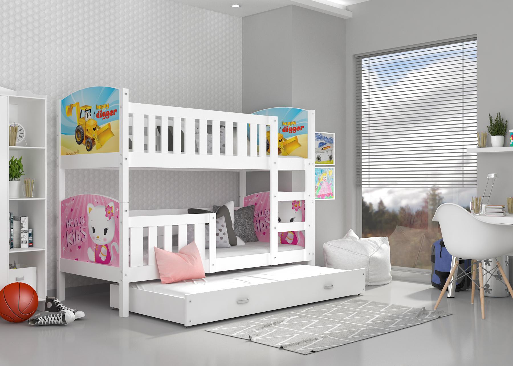 ArtAJ Detská poschodová posteľ Tami 3 / biela Tami rozmer: 190 x 80 cm + prístelka 184 x 80 cm, Tami typ: bez matraca
