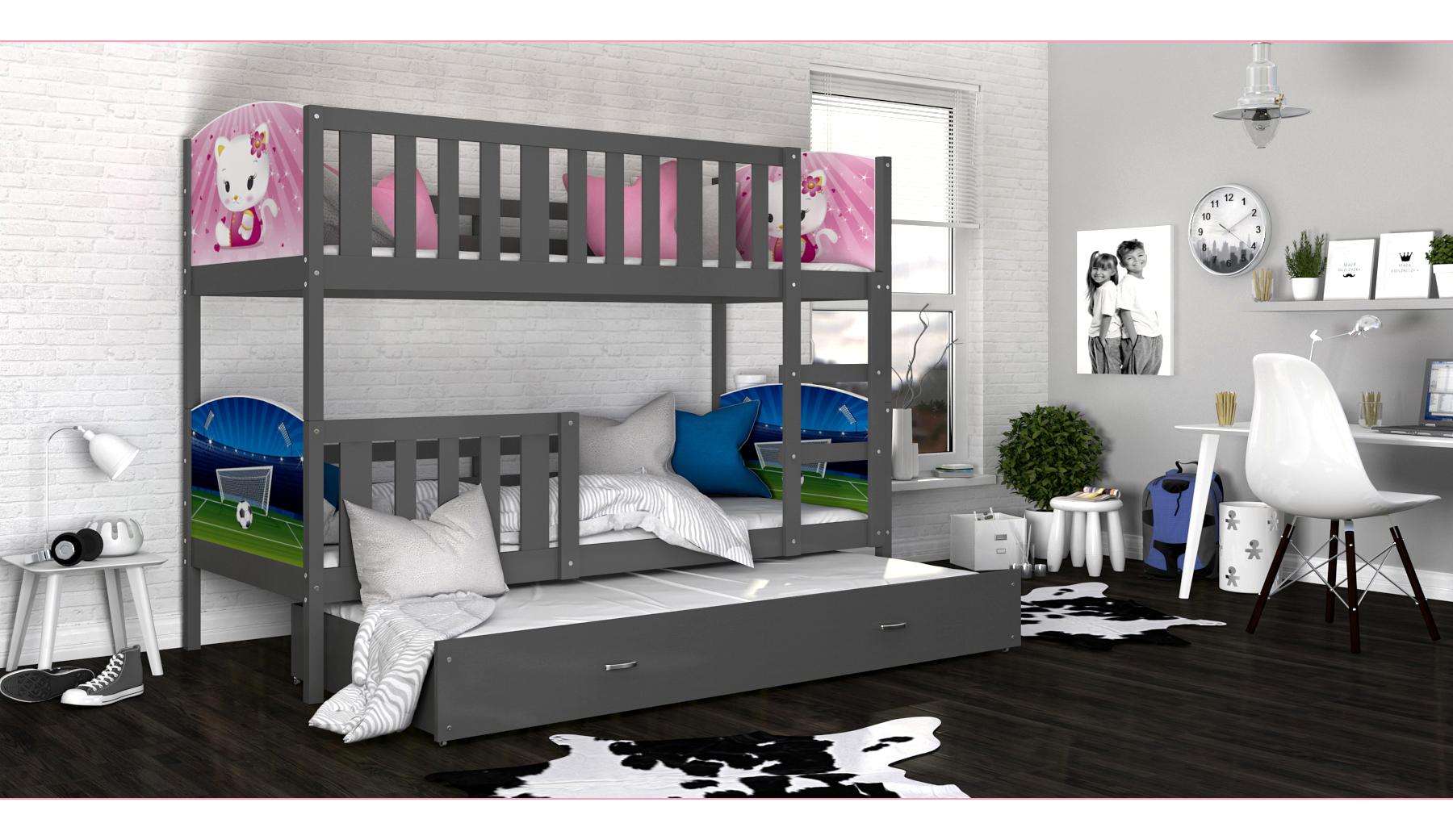 ArtAJ Detská poschodová posteľ Tami 3 / sivá Tami rozmer: 190 x 80 cm + prístelka 184 x 80 cm, s matracom