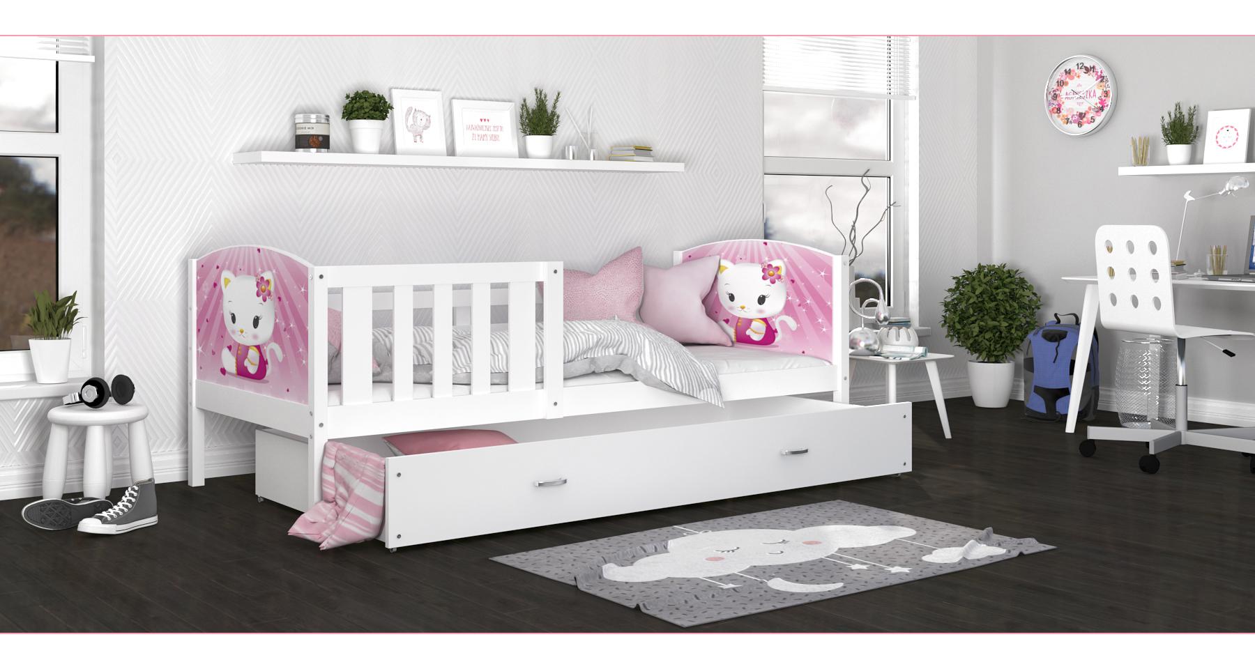 ArtAJ Detská posteľ Tami P / biela Tami rozmer: 160 x 80 cm, Tami typ: bez matraca