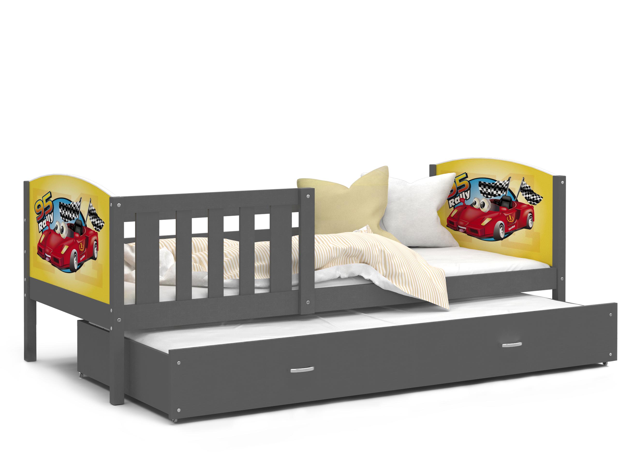 ArtAJ Detská posteľ Tami P2 / sivá Tami rozmer: 190 x 80 cm + prístelka 184 x 80 cm, s matracom