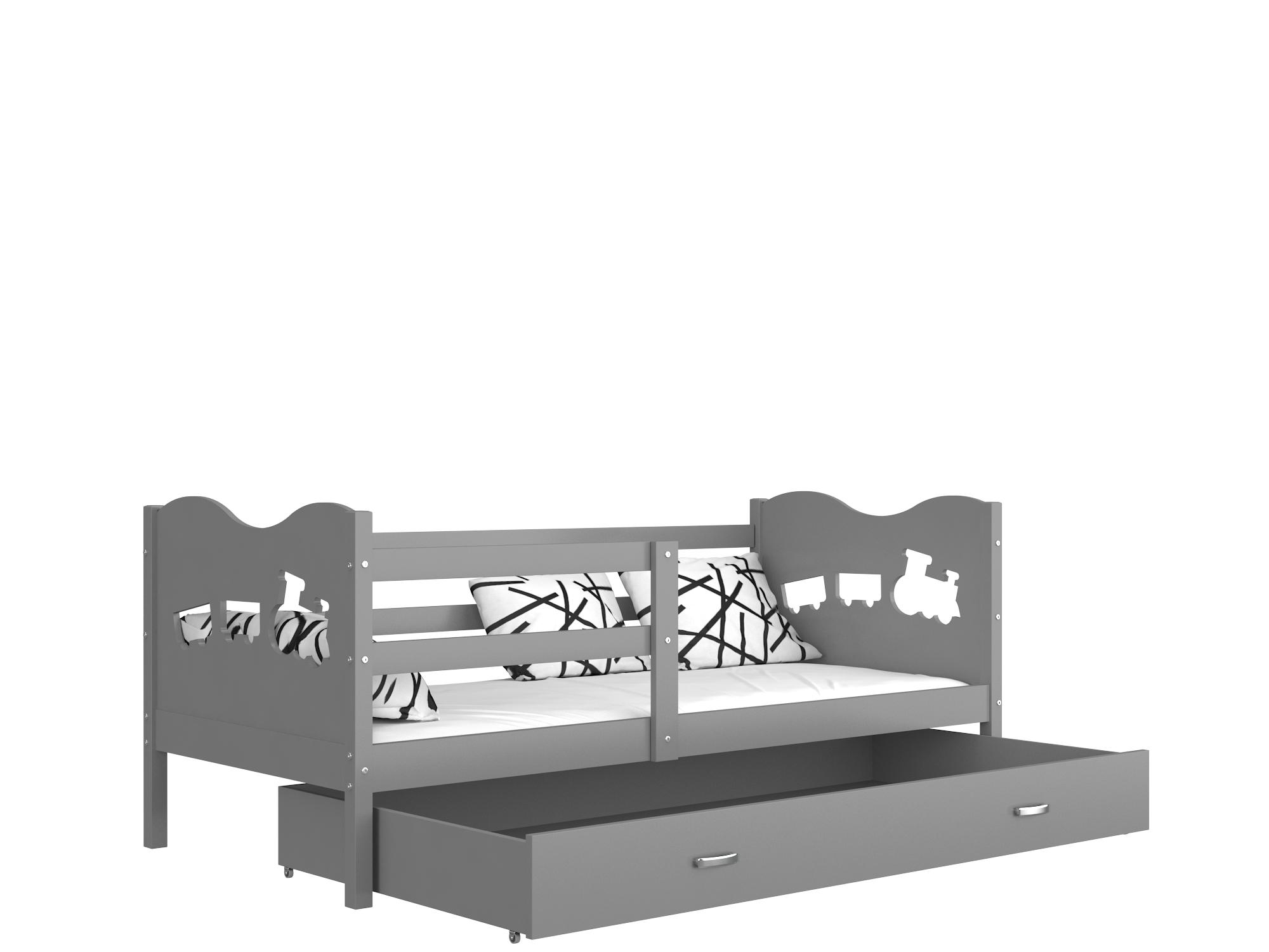 ArtAJ Detská posteľ Max P / MDF 190 x 80 cm Farba: Sivá/sivá 190 x 80 cm, Prevedenie: s matracom
