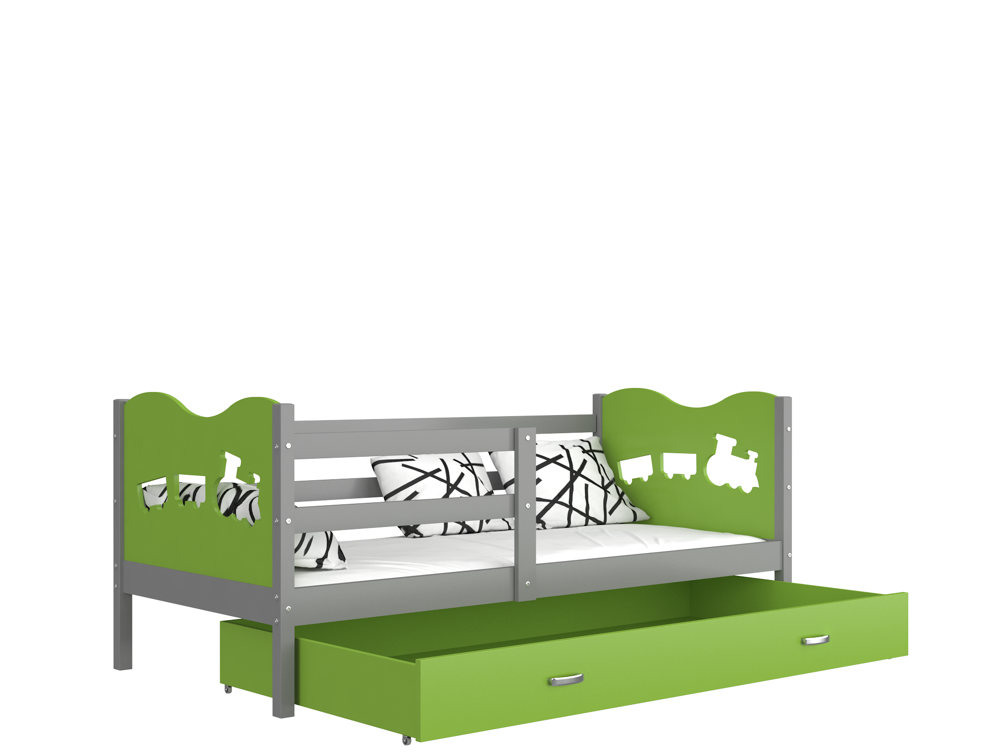 ArtAJ Detská posteľ Max P / MDF 190 x 80 cm Farba: Sivá / zelená 190 x 80 cm, Prevedenie: s matracom