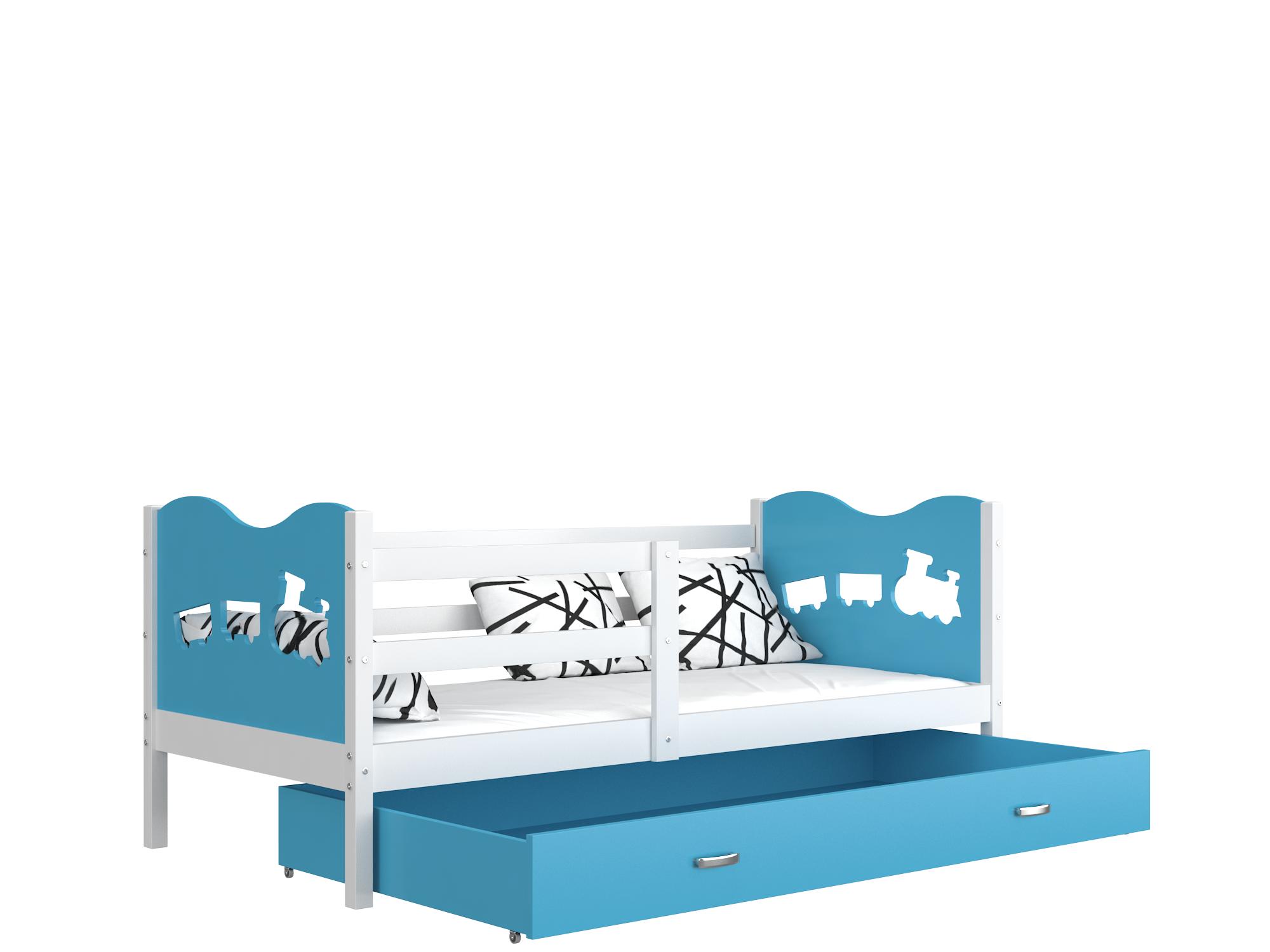 ArtAJ Detská posteľ Max P / MDF 190 x 80 cm Farba: biela / modrá 190 x 80 cm, Prevedenie: s matracom