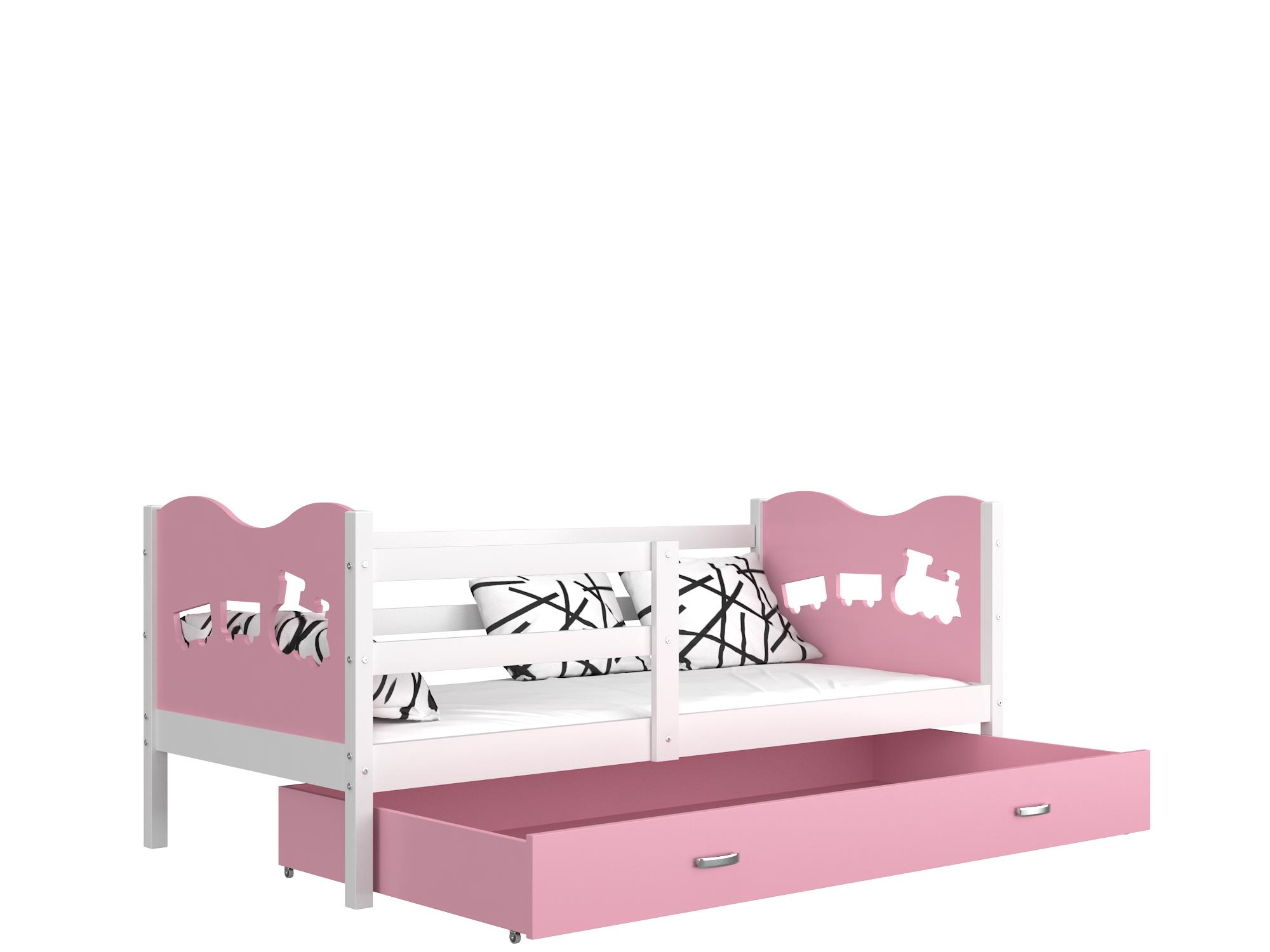 ArtAJ Detská posteľ Max P / MDF 190 x 80 cm Farba: biela / ružová 190 x 80 cm, Prevedenie: s matracom