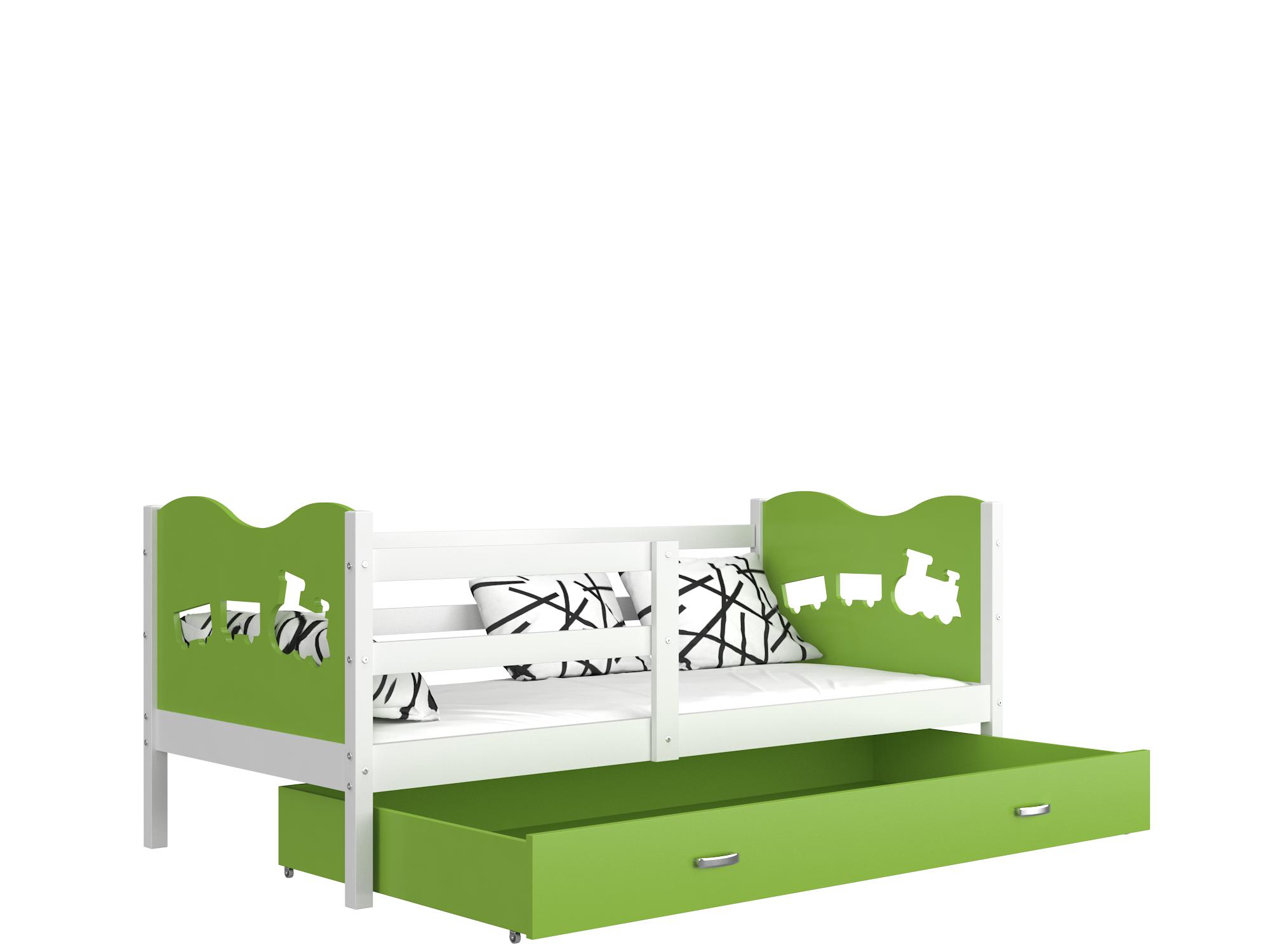 ArtAJ Detská posteľ Max P / MDF 190 x 80 cm Farba: biela / zelená 190 x 80 cm, Prevedenie: s matracom