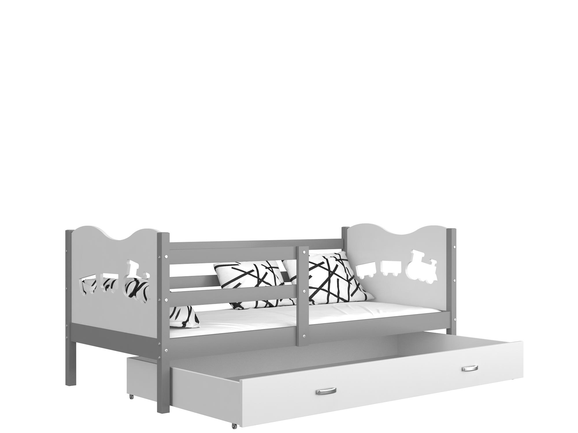 ArtAJ Detská posteľ Max P / MDF 190 x 80 cm Farba: Sivá / biela 190 x 80 cm, Prevedenie: bez matraca