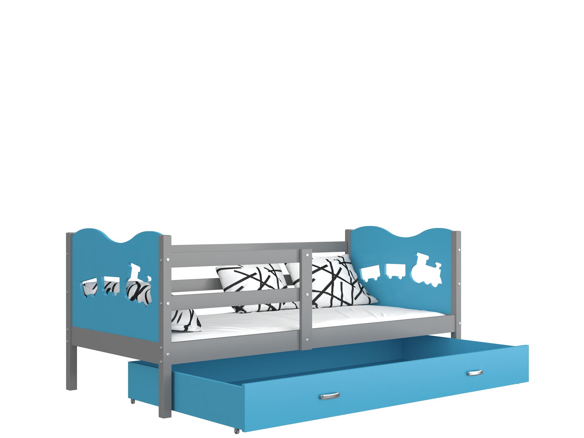 ArtAJ Detská posteľ Max P / MDF 190 x 80 cm Farba: Sivá / Modrá 190 x 80 cm, Prevedenie: s matracom