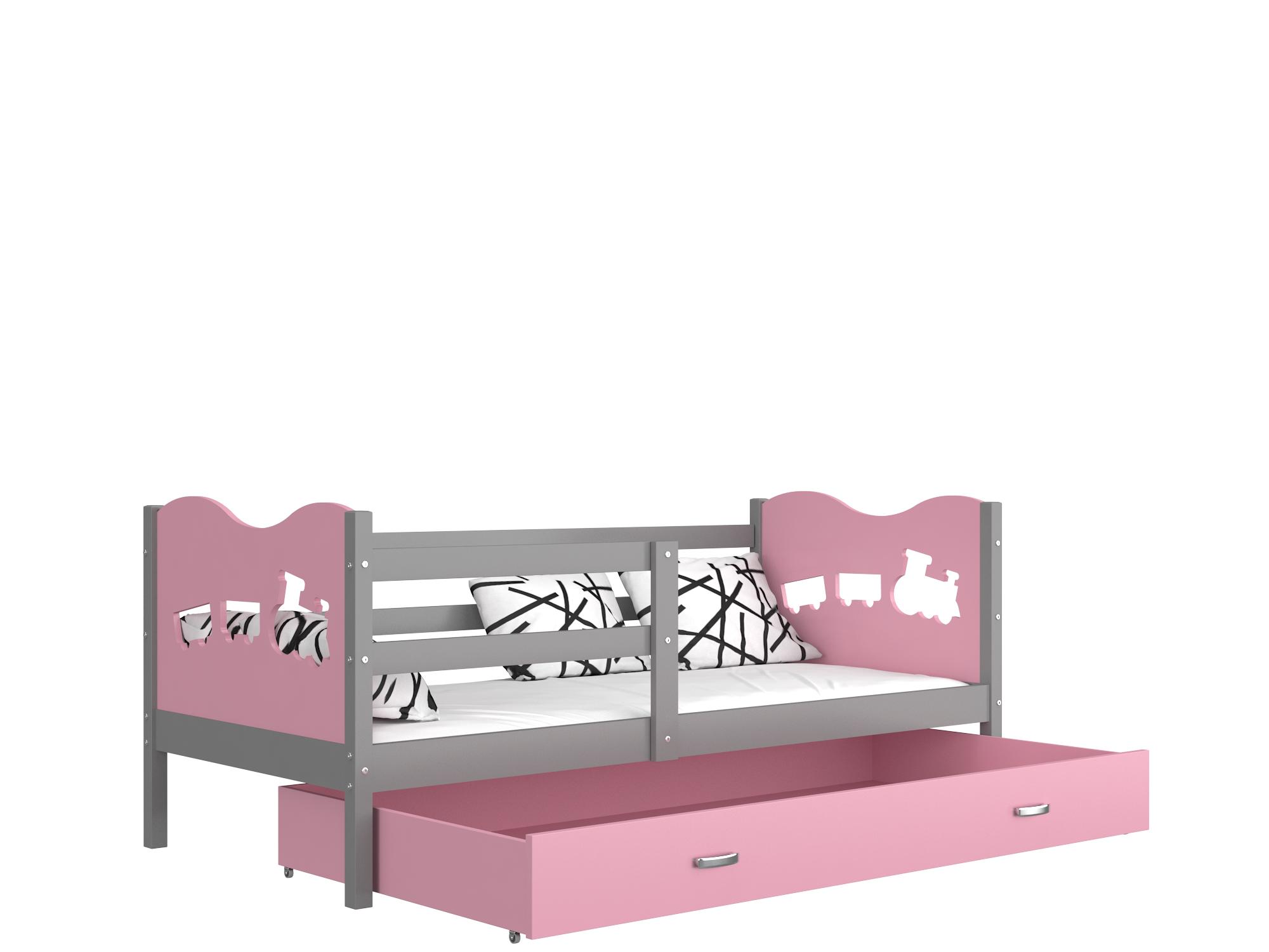 ArtAJ Detská posteľ Max P / MDF 190 x 80 cm Farba: Sivá / ružová 190 x 80 cm, Prevedenie: s matracom