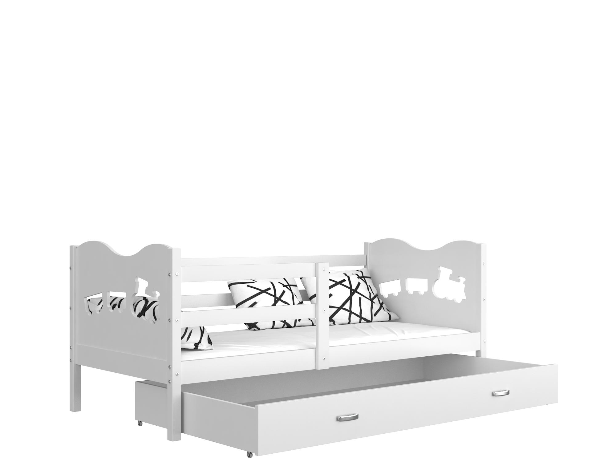 ArtAJ Detská posteľ Max P / MDF 190 x 80 cm Farba: Biela / biela 190 x 80 cm, Prevedenie: bez matraca